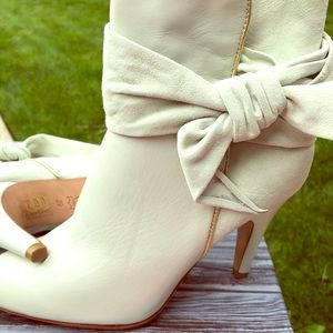 White suede and leather booties